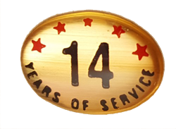14 YEARS SELF ADHESIVE YEARS OF SERVICE