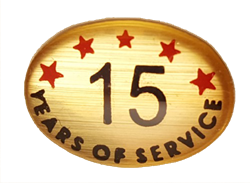 15 YEARS SELF ADHESIVE YEARS OF SERVICE