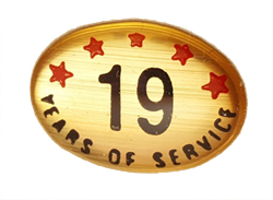 19 YEARS SELF ADHESIVE YEARS OF SERVICE