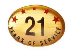 21 YEARS SELF ADHESIVE YEARS OF SERVICE