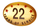 22 YEARS SELF ADHESIVE YEARS OF SERVICE