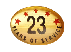 23 YEARS SELF ADHESIVE YEARS OF SERVICE
