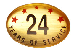 24 YEARS SELF ADHESIVE YEARS OF SERVICE