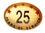 25 YEARS SELF ADHESIVE YEARS OF SERVICE