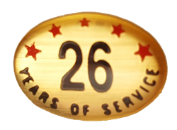 26 YEARS SELF ADHESIVE YEARS OF SERVICE