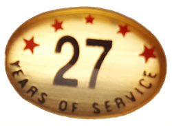 27 YEARS SELF ADHESIVE YEARS OF SERVICE
