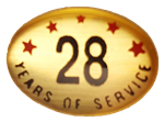 28 YEARS SELF ADHESIVE YEARS OF SERVICE