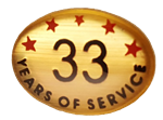 33 YEARS SELF ADHESIVE YEARS OF SERVICE