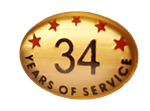 34 YEARS SELF ADHESIVE YEARS OF SERVICE
