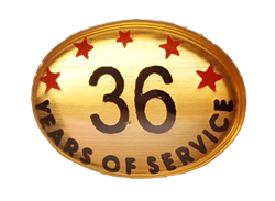 36 YEARS SELF ADHESIVE YEARS OF SERVICE