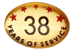 38 YEARS SELF ADHESIVE YEARS OF SERVICE