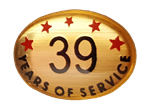 39 YEARS SELF ADHESIVE YEARS OF SERVICE