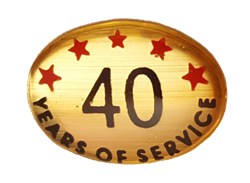40 YEARS SELF ADHESIVE YEARS OF SERVICE