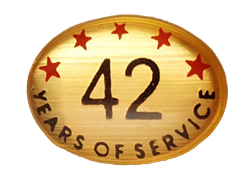 42 YEARS SELF ADHESIVE YEARS OF SERVICE
