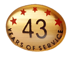 43 YEARS SELF ADHESIVE YEARS OF SERVICE