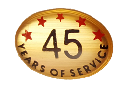 45 YEARS SELF ADHESIVE YEARS OF SERVICE