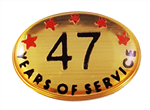 47 YEARS SELF ADHESIVE YEARS OF SERVICE
