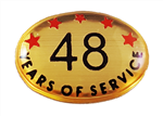 48 YEARS SELF ADHESIVE YEARS OF SERVICE