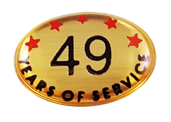 49 YEARS SELF ADHESIVE YEARS OF SERVICE