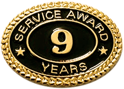 9 YEARS SERVICE AWARD PIN