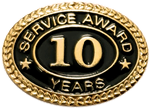 10 YEARS SERVICE AWARD PIN
