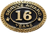 16 YEARS SERVICE AWARD PIN