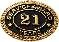 21 YEARS SERVICE AWARD PIN