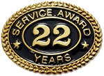 22 YEARS SERVICE AWARD PIN