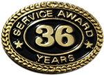 36 YEARS SERVICE AWARD PIN