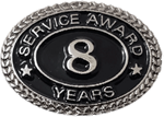SILVER 8 YEARS SERVICE AWARD PIN