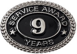 SILVER 9 YEARS SERVICE AWARD PIN