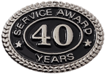 SILVER 40 YEARS SERVICE AWARD PIN