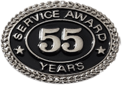 SILVER 55 YEARS SERVICE AWARD PIN