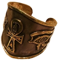 KemetArt Egyptian Bronze Bangle ( Ankh & Eye )