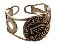 KemetArt Egyptian Bronze Bangle ( Eye & Ankh Filigree )