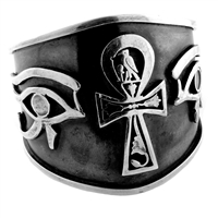 Ankh & Eye of Horus Bangle - Large