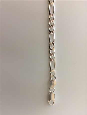 Sterling Silver  Necklace  Figaro 22 Inches