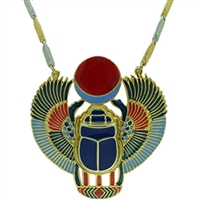 Egyptian Jewelry Bronze Scarab Beetle Pendant with Chain