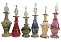 Kemet Art LOT / Set of 12 Mouth Blown Egyptian Perfume Bottles Pyrex Glass