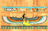 Egyptian Hand-Made Papyrus Painting - Winged Isis