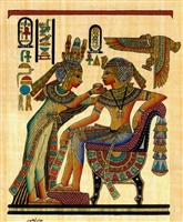 Egyptian Hand-made Papyrus Painting - Tutankhamen and His Beautiful Wife L