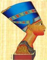 Egyptian Hand-Made Papyrus Painting - Nefertiti