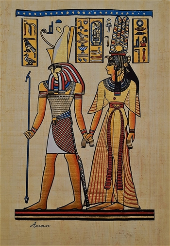 Egyptian Hand-Made Papyrus Painting - Horus and Nefertiti