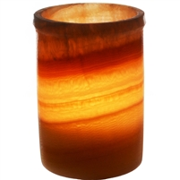 Alabaster Cylindrical Candle Holder 5.5""