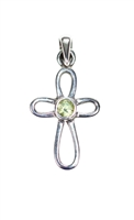.925 sterling silver 'petal style' cross pendant with peridot center.