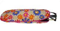 Soft-sided embroidered eyeglass case.  Blue, pink and orange daisies on cream background.