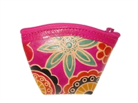Genuine leather zip-style coin purse.  Multi color floral motif.