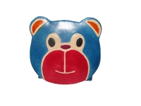 leather snap coin purse in shape of blue bear head with red muzzle