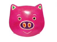 pink leather piggy face snap coin purse