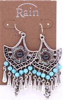 Rain Jewelry turquoise shield drop earrings  2-1/4""